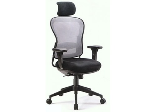 KI-5868AX  Highback Mesh Chair with adjustable armrest ,black mesh c/w backtilt locking function and lumbar Support