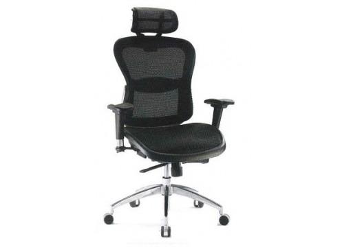KI-5889AX :  Full Mesh - Highback Chair with adjustable armrest & aluminium base