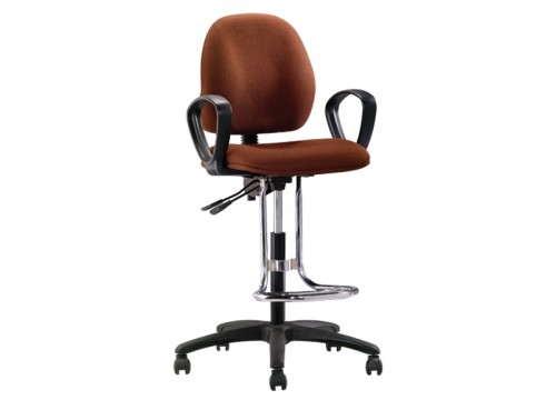 KI- 492A -Drafting high chair witharmrest & footring with castor wheel or stopper
