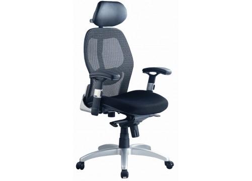 KI-201D-HB -Highback Mesh Chair with adjustable armrest ,black mesh c/w kneetilt locking function and lumbar Support