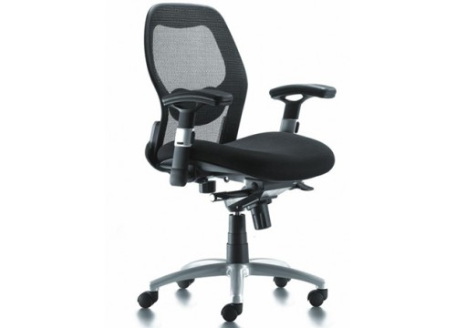 KI-201LB -Lowback Mesh Chair with adjustable armrest ,black mesh c/w kneetilt locking function and lumbar Support