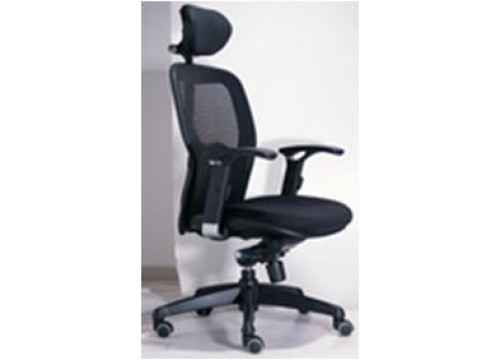 KI- 205HB -Highback Mesh Chair with adjustable armrest ,black mesh c/w kneetilt locking function and lumbar Support