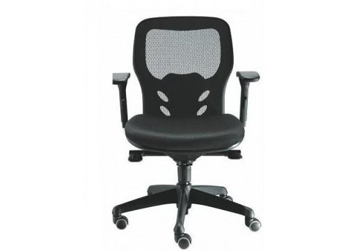 KI-205LB -Lowback Mesh Chair with adjustable armrest ,black mesh c/w kneetilt locking function and lumbar Support