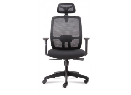 KI-225HB -Highback Mesh Chair with adjustable armrest ,black mesh c/w kneetilt locking function and lumbar Support