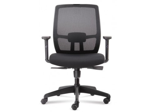 KI-225LB -Low back Mesh Chair with adjustable armrest ,black mesh c/w kneetilt locking function and lumbar Support