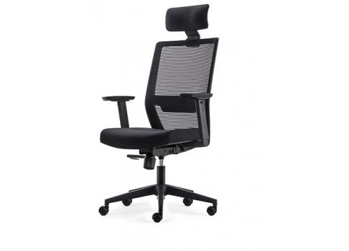 KI-251HB -Highback Mesh Chair with adjustable armrest ,black mesh c/w kneetilt locking function and lumbar Support