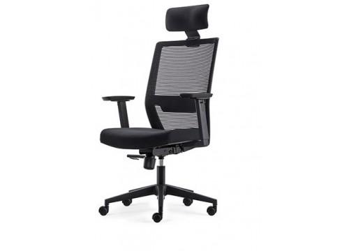 KI-251HB -Highback Mesh Chair with adjustable armrest ,black mesh c/w kneetilt locking function and lumbar Support