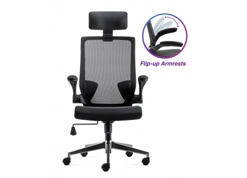 KI-255 Highback Office Mesh Chair with flip-up armrest