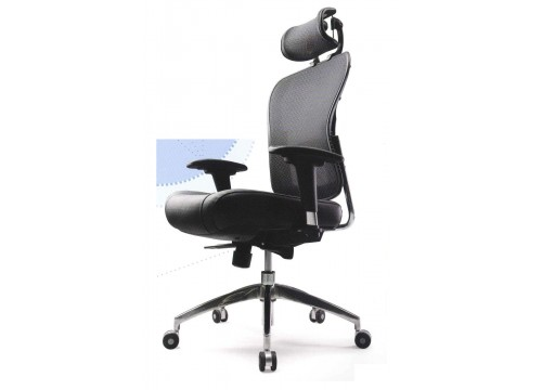 KI- 5869AX- Highback Leather Mesh Chair with adjustable armrest ,black mesh c/w kneetilt locking function and lumbar Support