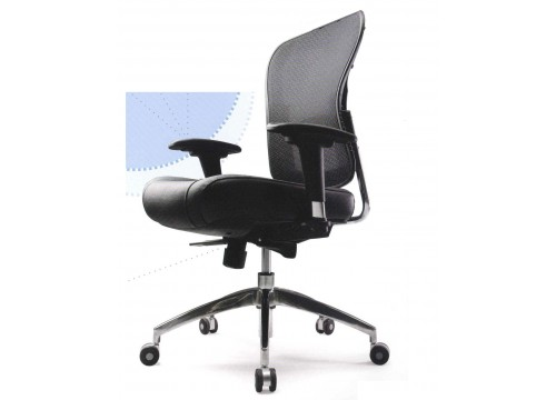 KI- 5869BX- Medback Leather Mesh Chair with adjustable armrest ,black mesh c/w kneetilt locking function and lumbar Support