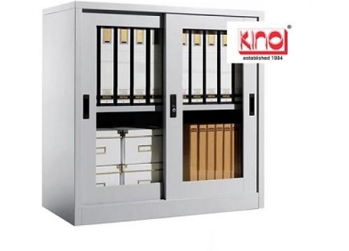 KI-110 - Steel half height Glass slidingdoor c/w 1 shelf & key lock.
