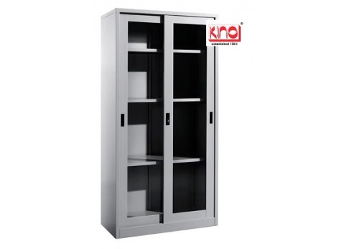 "KI- 119 -Steel Full Height Slidingdoor ""Glass door"" c/w 3 shelves & keylock."
