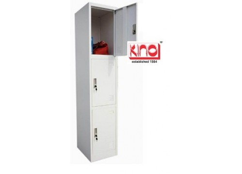 KI- 3D18-Steel locker c/w 3 door compartment  & key lock