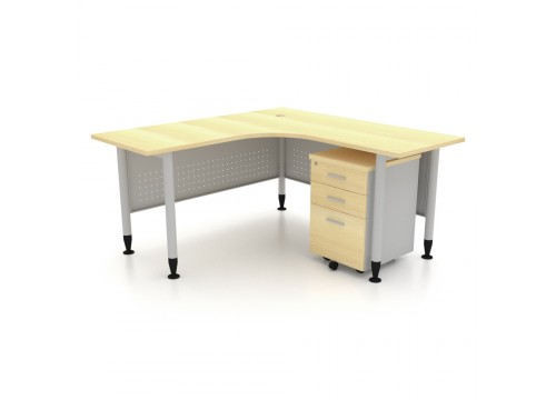 L  Shape table with Mobile Drawers (Metal Leg)