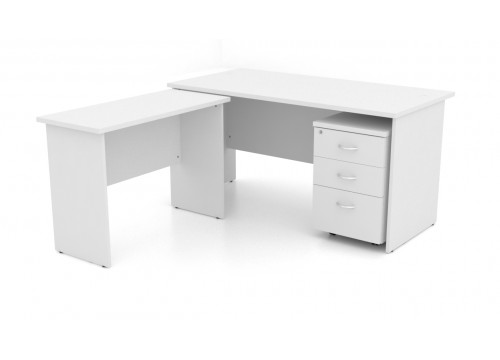 L SHAPE 1.5 (2) TABLE C/W WITH SIDE TABLE AND DRAWER