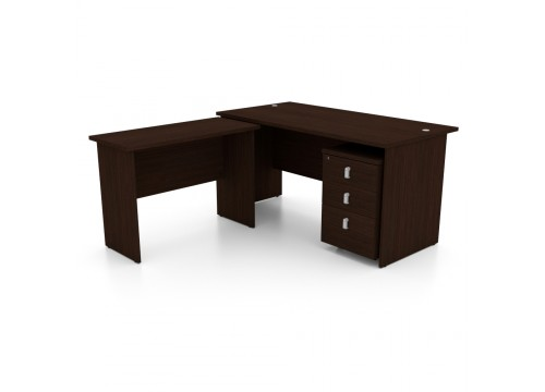 L Shape (2) Table 1800W c/w with Side Table and Drawer