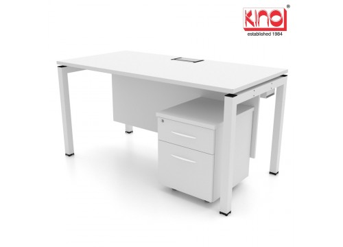 One Seater - Workstations Desk WITH FLIPPER BOX  + Mobile Pedestal 2D
