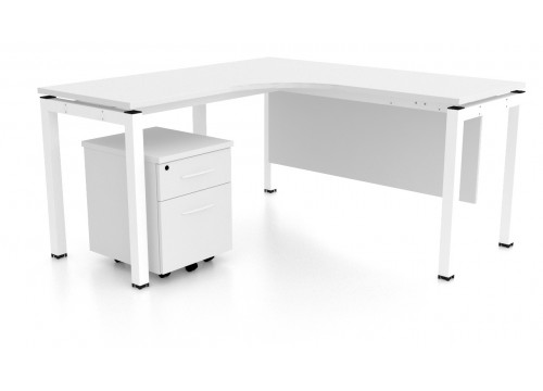 L Shape Table with Mobile Pedestal 2 Drawers