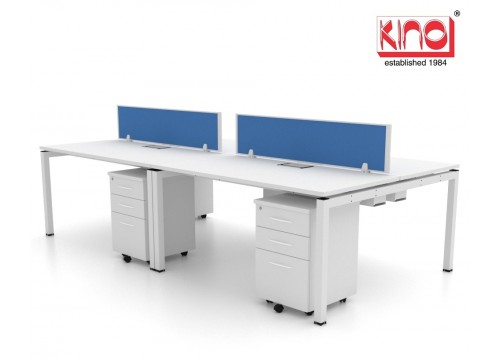 4 SEATERS -WORKSTATIONS WITH FLIPPER BOX - DESK 1200L + MOBILE PEDESTAL