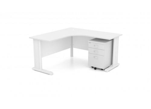 L Shape White Table (Metal Leg)