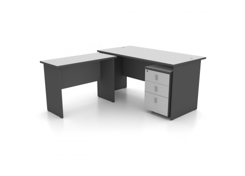 L Shape (2)  Table  c/w with Side Table and Drawer