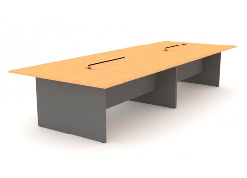 Conference Table With Flipper  - Wooden Leg Panel