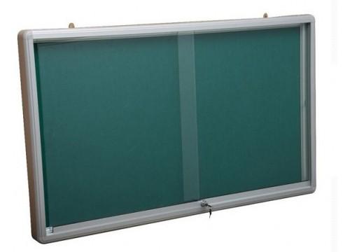 Notice Board c/w Glass Sliding Door c/w lock & Aluminium frame (Green Felt)