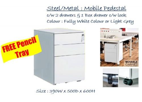 Steel - Mobile Pedestal 2 drws & 1 filing c/w lock